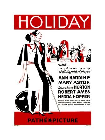 HOLIDAY, poster art, 1930 Prints