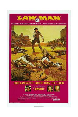 LAWMAN, US poster, Burt Lancaster, bottom from left: Burt Lancaster, Robert Ryan, Lee J. Cobb, 1971 Poster