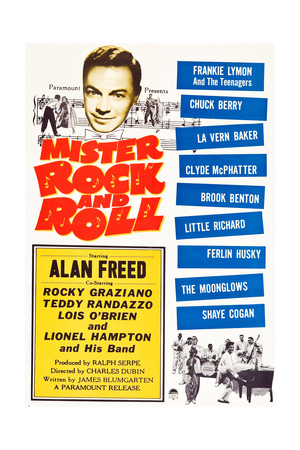 MISTER ROCK AND ROLL, top left: Alan Freed, bottom right: Little Richard with his band, 1957. Plakater