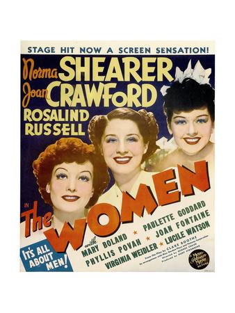 THE WOMEN, from left: Joan Crawford, Norma Shearer, Rosalind Russell on window card, 1939 Plakat