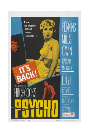 PSYCHO, US poster, Anthony Perkins (left), Janet Leigh (center), John Gavin (bottom), 1960 Plakater