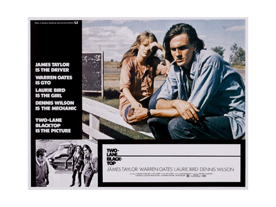 TWO-LANE BLACKTOP, (from left, large inset), Laurie Bird, James Taylor, 1971 Prints!
