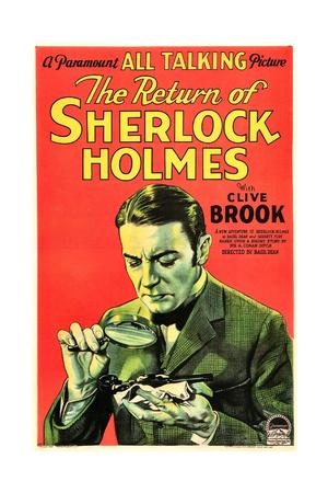 THE RETURN OF SHERLOCK HOLMES, US poster art, Clive Brook as Sherlock Holmes, 1929 Prints