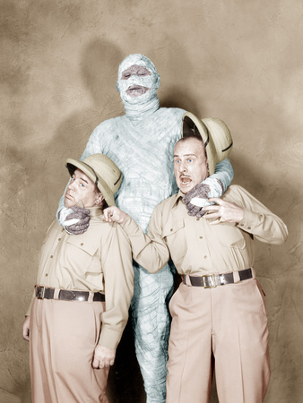 Abbott and Costello Meet the Mummy, Bud Abbott, Eddie Parker, Lou Costello, 1955 Photo