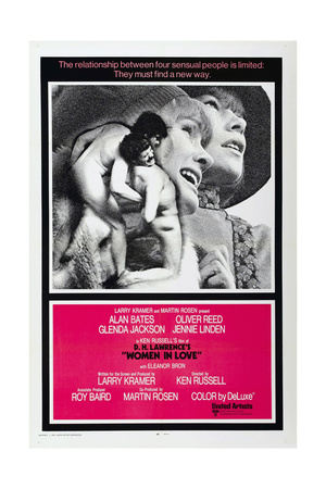 WOMAN IN LOVE, US poster, from left: Alan Bates, Oliver Reed, Jennie Linden, Glenda Jackson, 1969 Posters