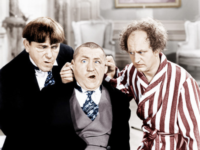 The Three Stooges, from left: Moe Howard, Curly Howard, Larry Fine, ca. 1940s Photo