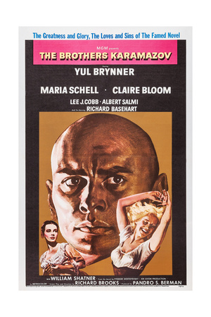 THE BROTHERS KARAMAZOV, U.S. poster, from left: Claire Bloom, Yul Brynner, Maria Schell, 1958 Posters