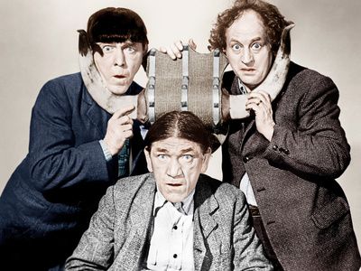 THE GOLD RAIDERS, from left: Moe Howard, Shemp Howard, Larry Fine, [aka The Three Stooges], 1950 Photo
