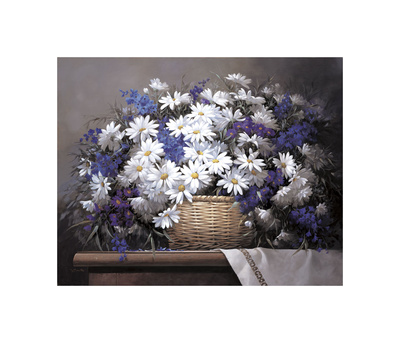 Daisies and Delphiniums Giclee Print by Victor Santos