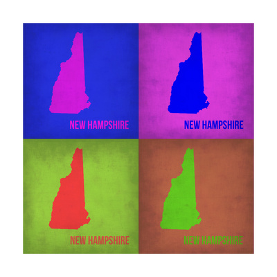 New Hampshire Pop Art Map 1 Prints by  NaxArt