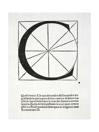 C, Illustration from 'Divina Proportione' by Luca Pacioli (C.1445-1517), Originally Pub. Venice,… Giclee Print by  Leonardo da Vinci