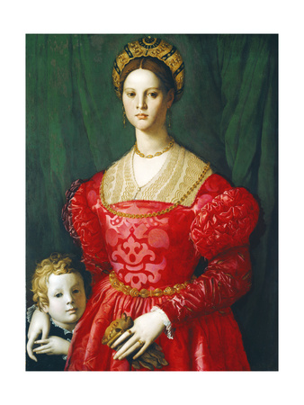 A Young Woman and Her Little Boy, C.1540 Giclée-tryk af Agnolo Bronzino