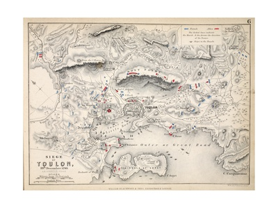 Map of the Siege of Toulon, Published by William Blackwood and Sons, Edinburgh and London, 1848 Giclee Print by Alexander Keith Johnston
