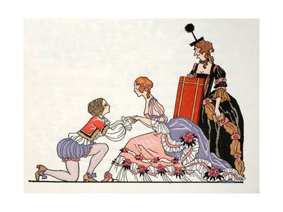 Cinderella with Prince Charming, Her Stepmother Looks on Giclee Print by Georges Barbier