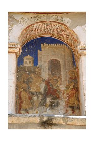 Greece. Mystras. Metropolitan Church of Saint Demetrius (Agios Dimitrios). Painting Murals. Scene… Giclee Print