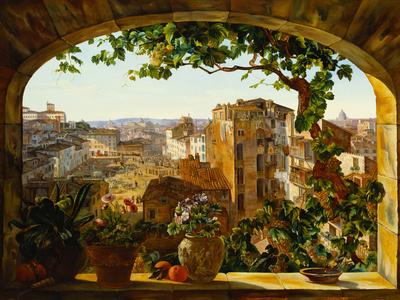 Piazza Barberini, Rome, 1830 Giclee Print by Karl Von Bergen