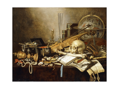 A Vanitas Still Life of Musical Instruments and Manuscripts, an Overturned Gilt Covered Goblet, a… Giclee Print by Pieter Claesz