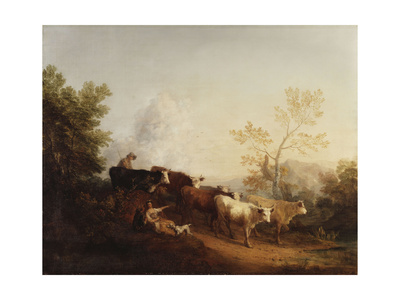 Evening; a Landscape with Cattle Returning Home Giclee Print by Thomas Gainsborough