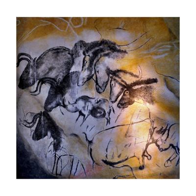 Animals and Birds, Chauvet-Pont-D'Arc Cave, Ardeche Giclée-tryk