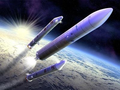 Ariane 5 Launch of Envisat, Artwork Premium Photographic Print by David Ducros