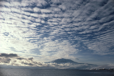 Altocumulus Cloud Cover Over Mt Erebus Volcano Photographic Print by Doug Allan