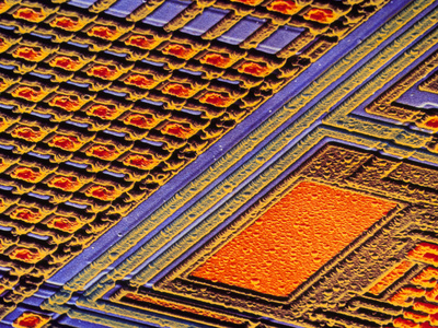 Coloured SEM of Surface of An EPROM Silicon Chip Premium Photographic Print by Dr. Jeremy Burgess