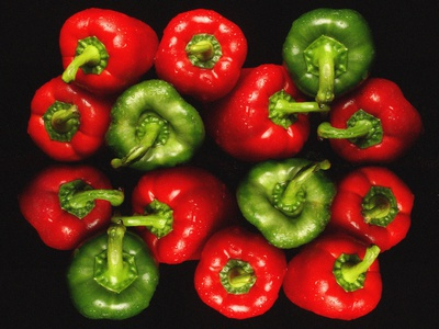 Red And Green Peppers Photographic Print by Victor De Schwanberg