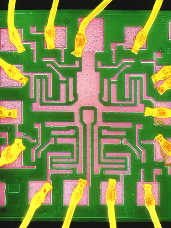 Coloured SEM of a 7401 TTL Integrated Circuit Premium Photographic Print by Dr. Jeremy Burgess