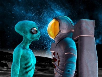 Alien And Astronaut, Artwork Photographic Print by Victor Habbick