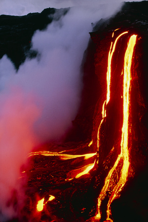 Lava Flowing Down Cliff Into the Ocean Photographic Print by Brad Lewis