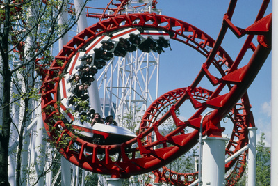 Corkscrew Coil on a Rollercoaster Ride Photographic Print by Kaj Svensson