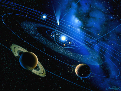Artwork of Solar System And Comet Photographic Print by Detlev Van Ravenswaay