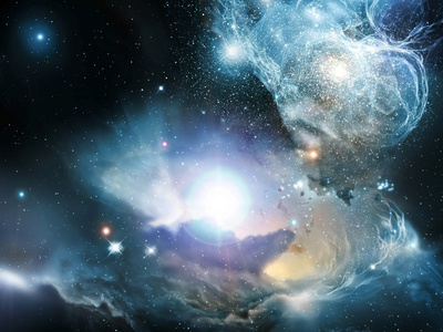 Primordial Quasar black and blue colors nebula clouds enhanced astronomy cosmo photo poster art