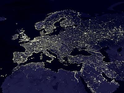 Europe At Night, Satellite Image Premium Photographic Print