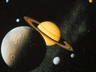 Voyager I Composite of Saturn & Six of Its Moons Photographic Print by  NASA