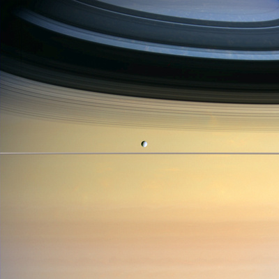 Dione And Ring Shadows on Saturn, Cassini Premium Photographic Print
