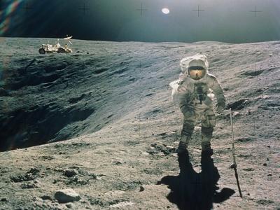 Astronaut Duke Next To Plum Crater, Apollo 16 Premium Photographic Print
