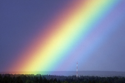 Rainbow Over Trees Photographic Print by Pekka Parviainen