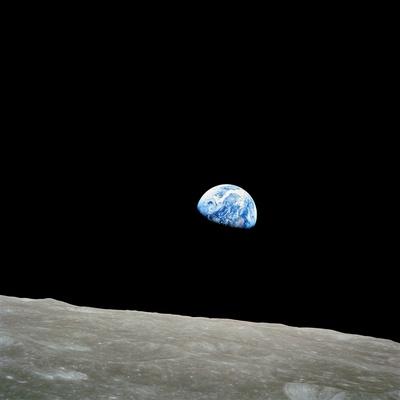 Erdkugel über dem Mond, Apollo 8 Premium-Fotodruck