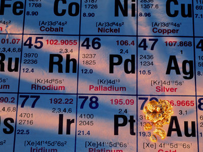 Nuggets of Gold on Periodic Table Photographic Print by David Nunuk