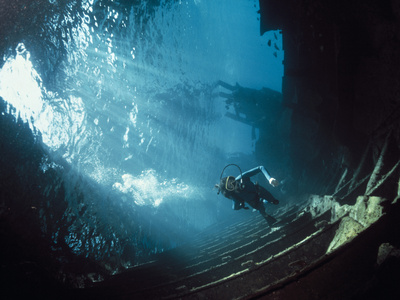 Scuba Diver Near Wreck Photographic Print by Peter Scoones