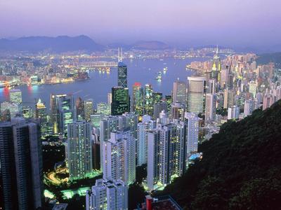 Hong Kong At Dawn Premium Photographic Print by Damien Lovegrove