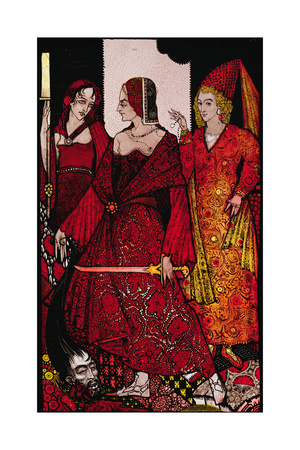 """""""Queens Who Cut the Hogs of Glanna..."""" Illustration by Harry Clarke from 'Queens' by J.M. Synge Giclee Print by Harry Clarke"""