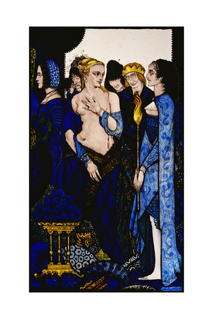 """""""We Named Lucrezia Crivelli and Titian's Lady with Amber Belly"""" Illustration by Harry Clarke from… Giclee Print by Harry Clarke"""