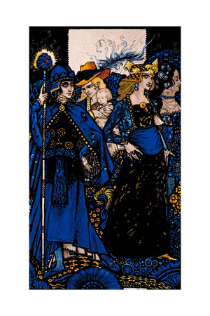 """""""The Queens of Sheba, Meath and Connaught"""" Illustration by Harry Clarke from 'Queens' by J.M. Synge Giclee Print by Harry Clarke"""