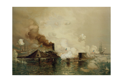 The 'Monitor' and the 'Merrimac', the First Fight Between Ironclads in 1862, Pub. by Louis Prang… Giclee Print by Julian Oliver Davidson