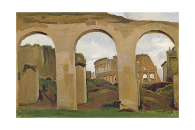 The Colosseum, Seen Through the Arcades of the Basilica of Constantine, 1825 Giclee Print by Jean-Baptiste-Camille Corot