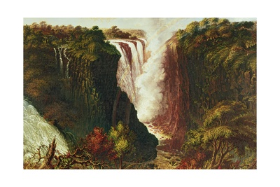 Victoria Falls from Western End of Chasm Giclee Print by Thomas Baines