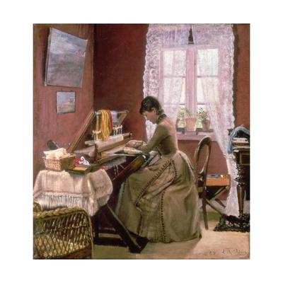 Johanne Wilde, the Artist's Wife, at Her Loom Gicléetryck av Laurits Andersen Ring
