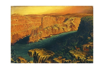 Gorge Below Victoria Falls in the Lower Zambezi with Antelope, 1862 Giclee Print by Thomas Baines